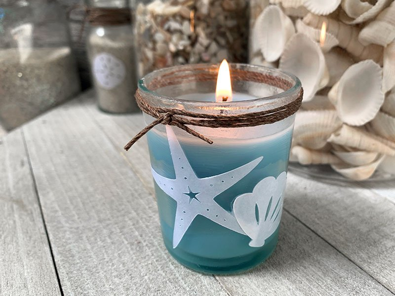 sea shell votive using a Cricut