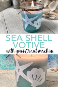 Make this sea shell votive with a free shell SVG file and your Cricut machine! You will love the look of this summer craft and how easy it is to make! #cricut #cricutmade #beach #seashell #coastal