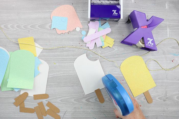 using mega runner adhesive on glitter paper