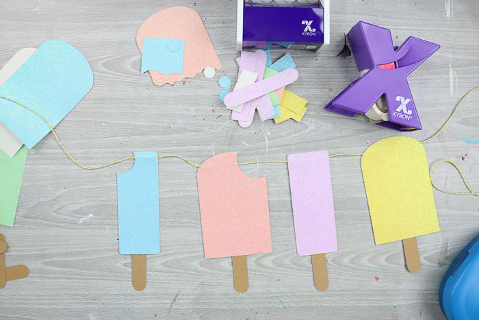 paper popsicles on a string