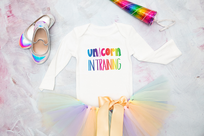 Use this free Unicorn SVG file to make an adorable Unicorn in Training t-shirt