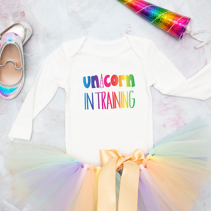 This Unicorn in Training shirt is perfect for little babies and toddlers