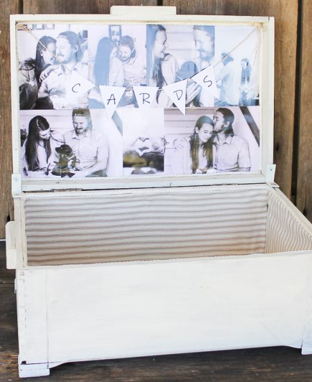 a wedding card box with pictures
