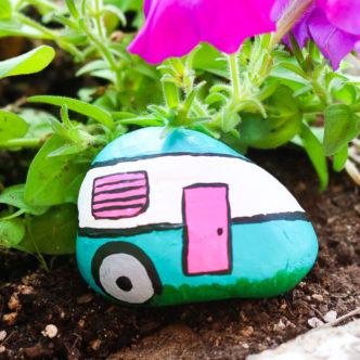 camper painted rocks craft