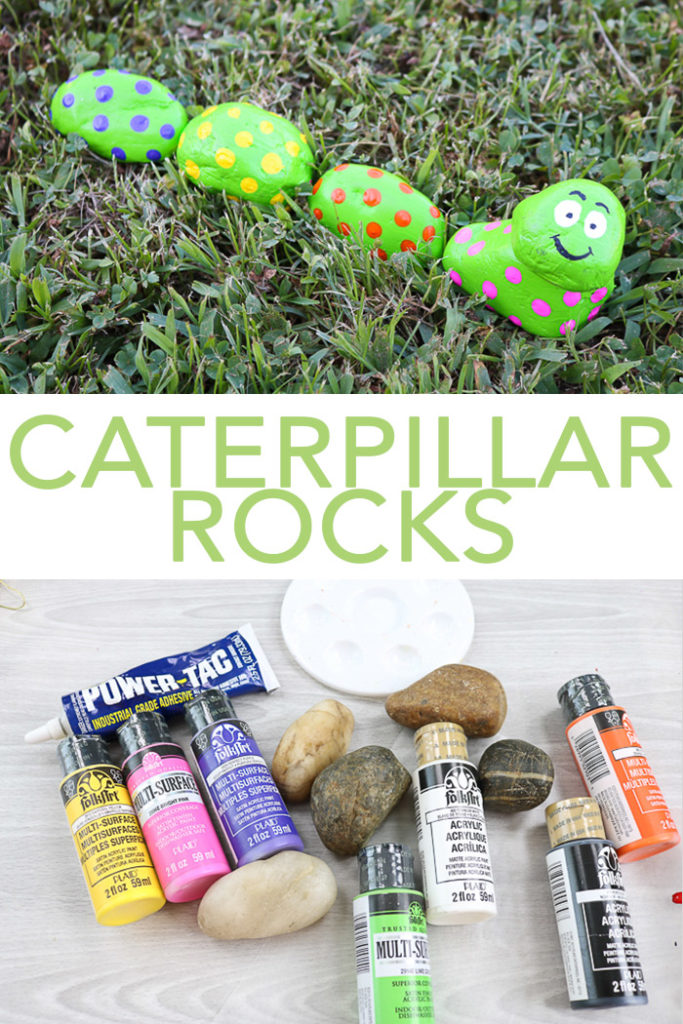 Learn all about painting caterpillar rocks for your garden! A cute and easy craft that even the kids can make this summer! #paintedrocks #rocks #caterpillar #garden #kidscrafts