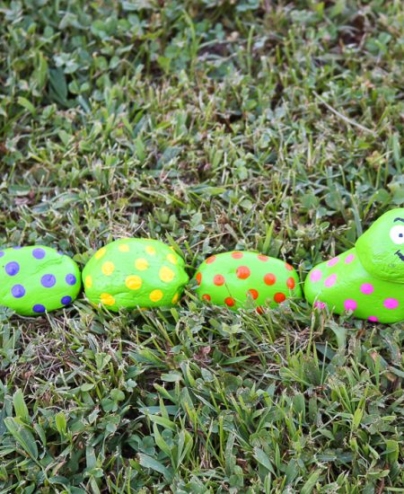 caterpillar rocks for a garden