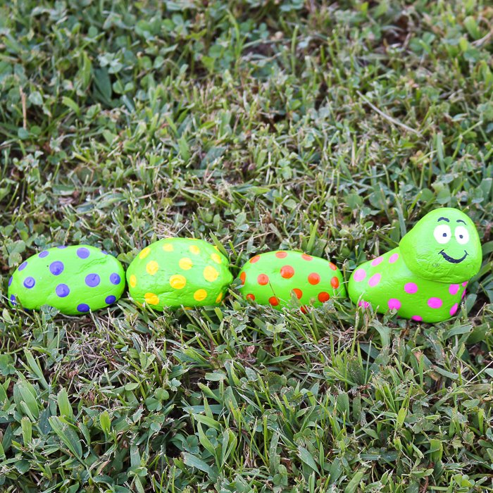 caterpillar rocks for a garden