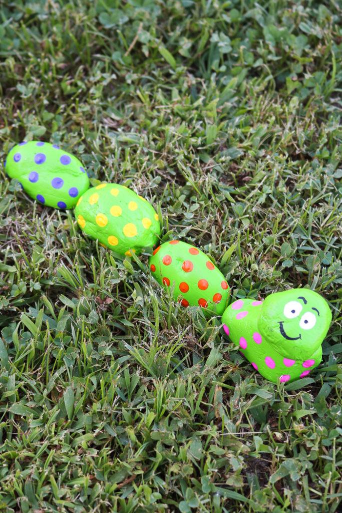painting caterpillar rocks