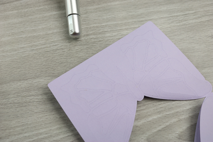 inside of card made with deboss tip on cricut maker