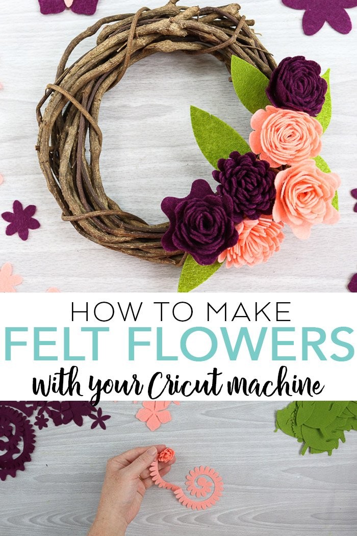 Learn how to make felt flowers with your Cricut machine! Includes a video tutorial and cut file so you can make your own rolled felt flowers in minutes! #cricut #cricutmade #felt #flowers #wreath #cutfile