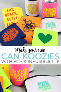 Learn how to make your own koozie with a Cricut and either heat transfer vinyl or Infusible Ink! A simple DIY koozie is great for gifts and party favors! #cricut #cricutmade #infusibleink #party #summer #giftidea #htv #cutfile