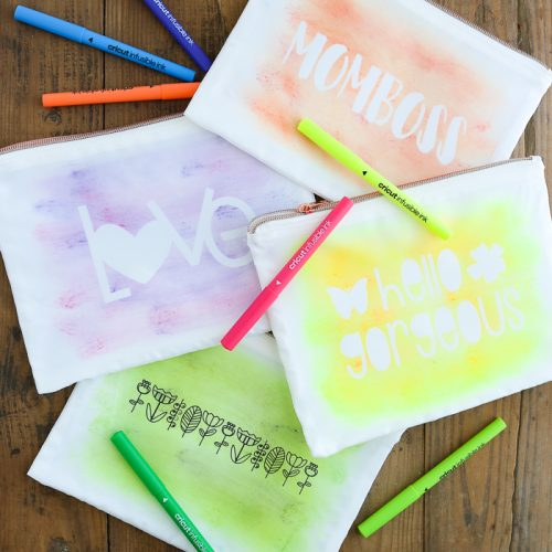 watercolor makeup bag with cricut infusible ink