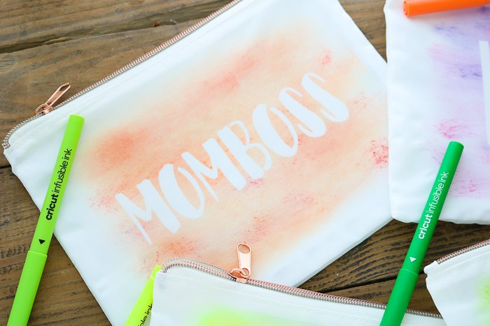 DIY makeup bag with orange momboss watercolor design