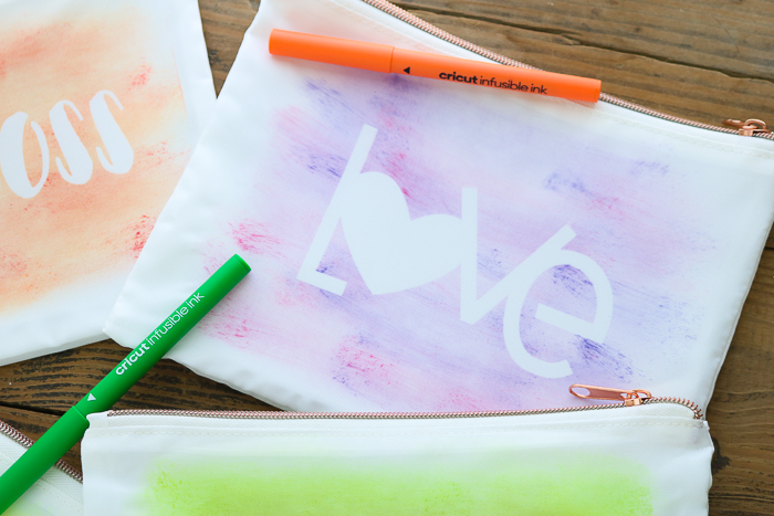 DIY makeup bag with pink and purple LOVE watercolor design