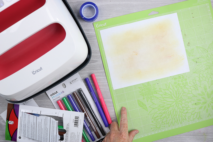 Preparing to cut a design for your diy makeup bag