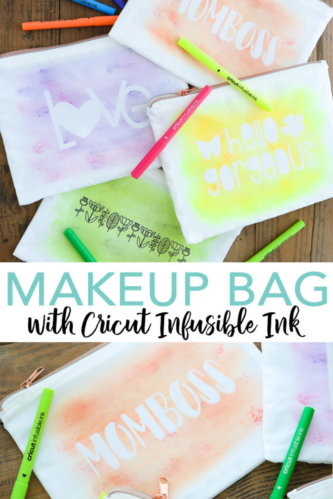 Make this DIY makeup bag with Cricut Infusible Ink and our technique for making a watercolor effect! Then add to a zipper pouch sublimation blank for a quick and easy project idea! #cricut #cricutmade #infusibleink #makeup #watercolor #sublimation