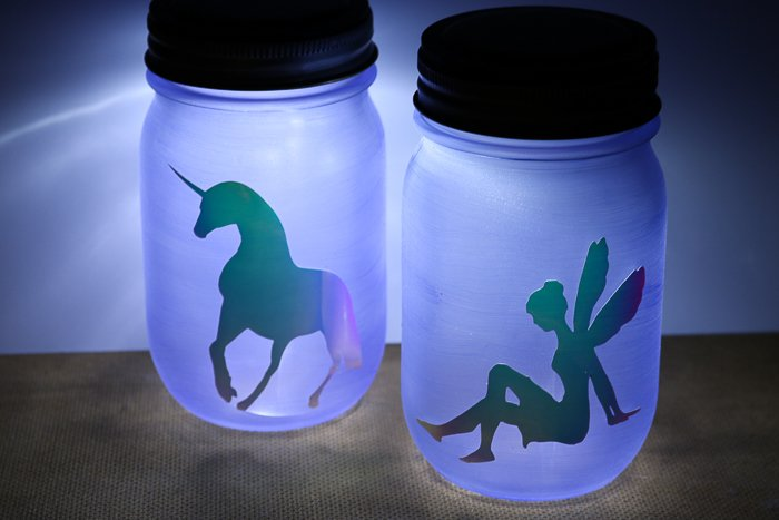 fairy and unicorn mason jar light