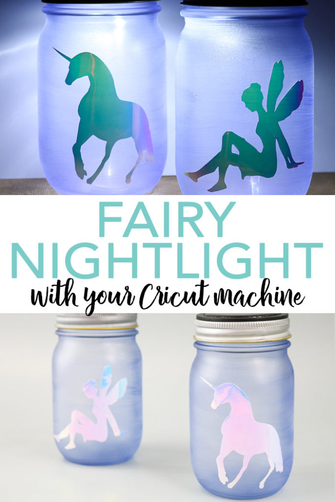 Make this fairy nightlight with just a few supplies and your Cricut machine! This solar powered mason jar will light up any room! #cricut #cricutmade #solar #fairy #unicorn