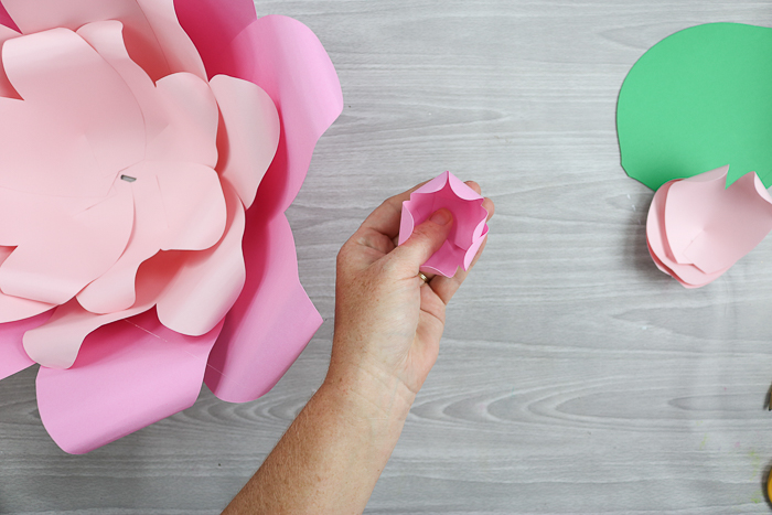 The smallest flower petals will be used as the center of the large paper flowers
