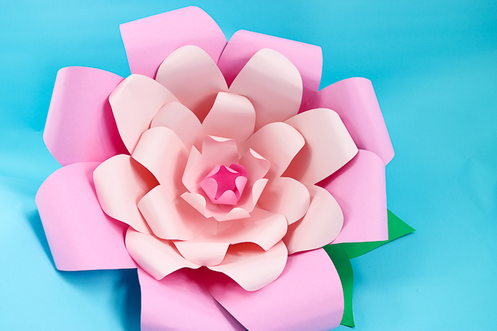 Add leaves to your large paper flowers and the flowers are complete!
