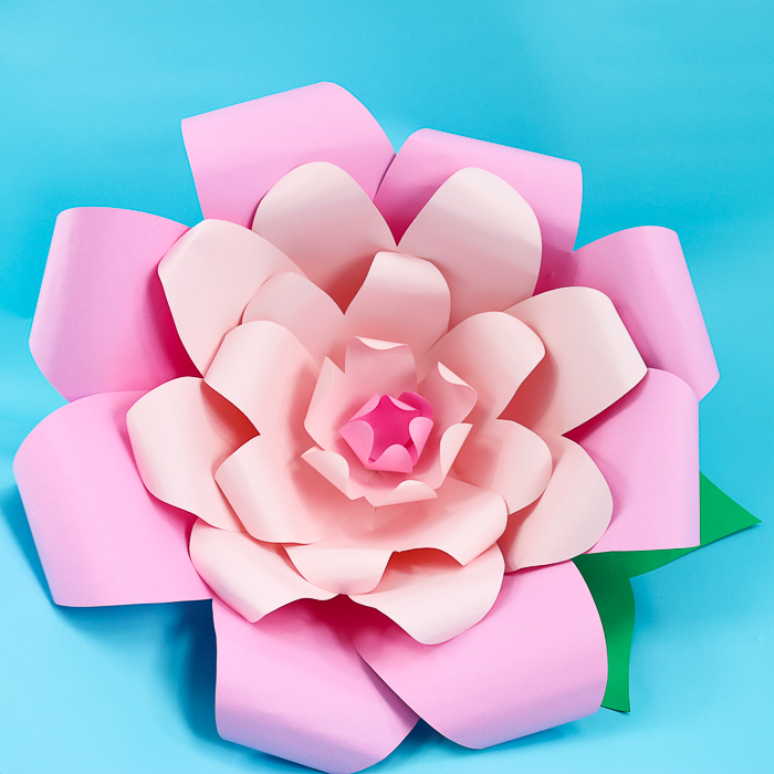 These large paper flowers are a simple cricut craft that's perfect for spring or party decor!