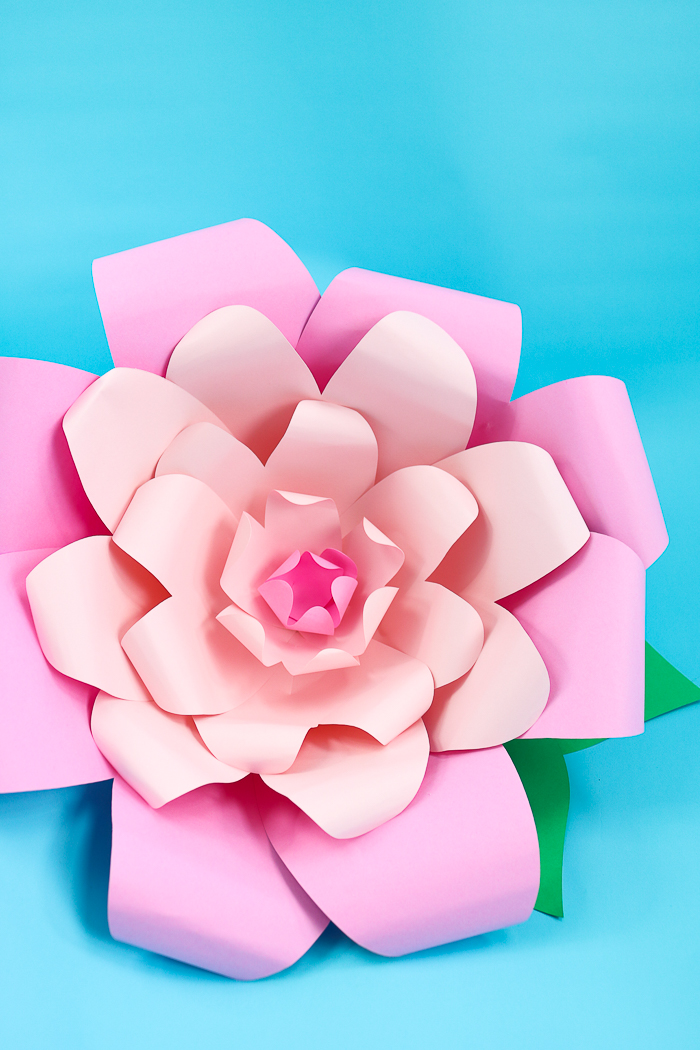 These giant paper flowers are an easy Cricut craft that adds a pop or color to your party decor