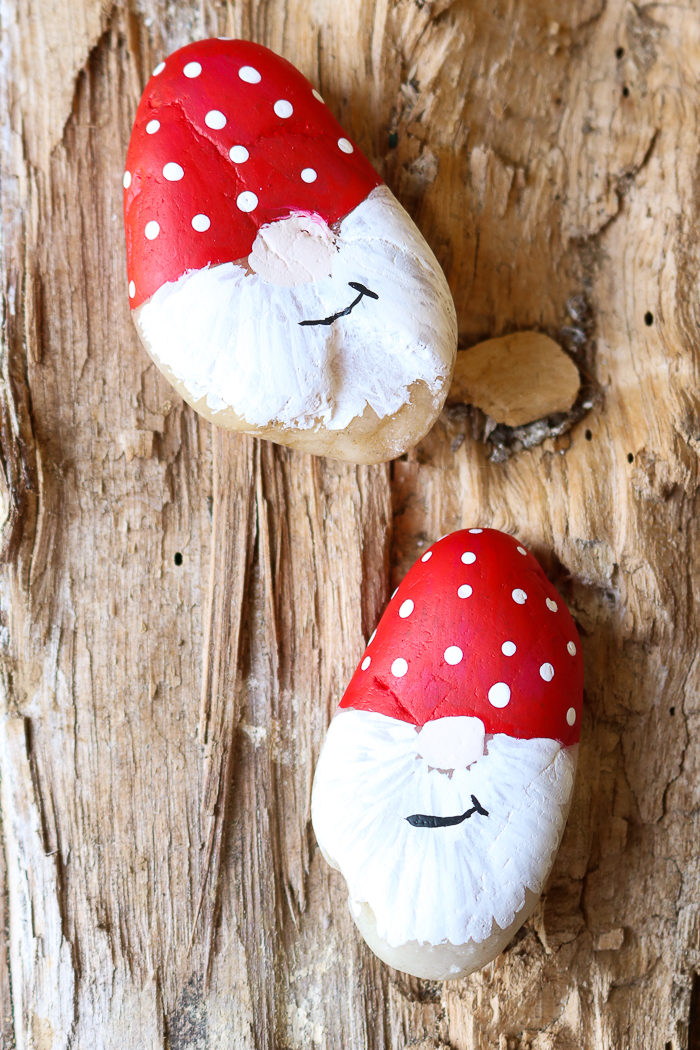 painted garden rocks that look like gnomes