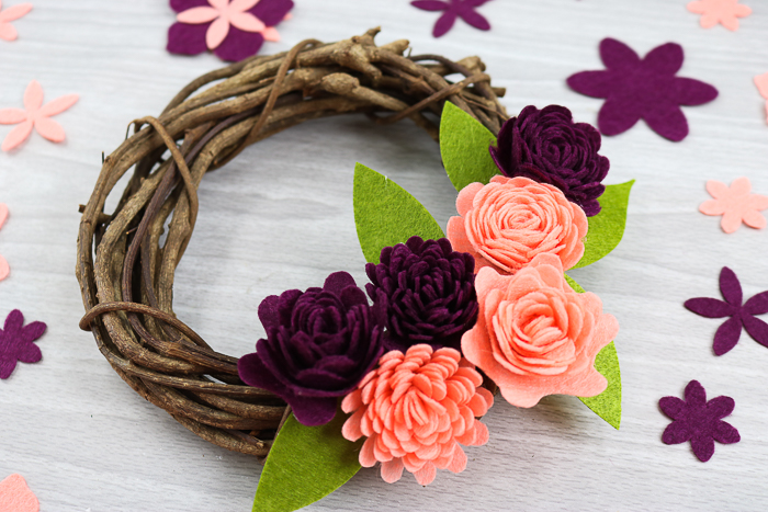 wreath with felt flowers