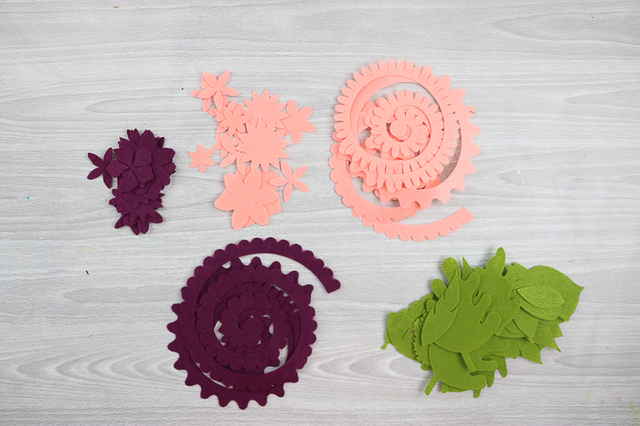 felt flower pieces cut with the Cricut