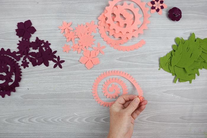 assembling a felt flower
