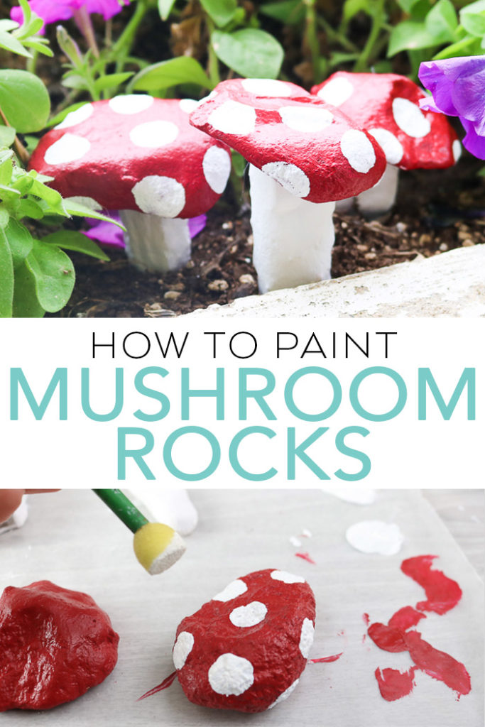 Learn how to paint stones to look like mushrooms. A quick and easy project that will look great in your garden or potted plants! #garden #mushrooms #rockpainting #painting
