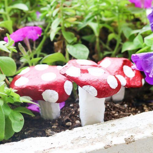 painted mushroom rocks in flowers