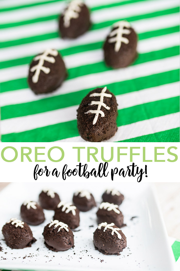 Serve up these Oreo truffles at any football party! Chocolate truffles are a great way to serve up dessert and when they are football shaped it is even better! #chocolate #football #footballparty #dessert