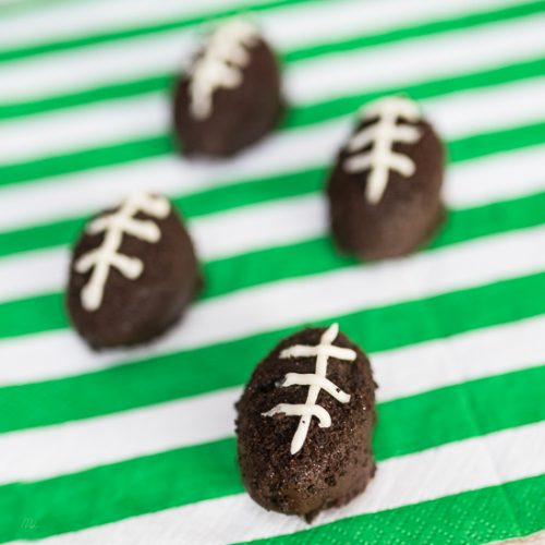 making oreo truffles that look like footballs