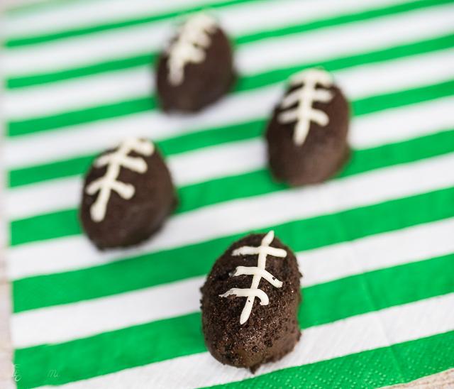 making oreo truffles that look like footballs