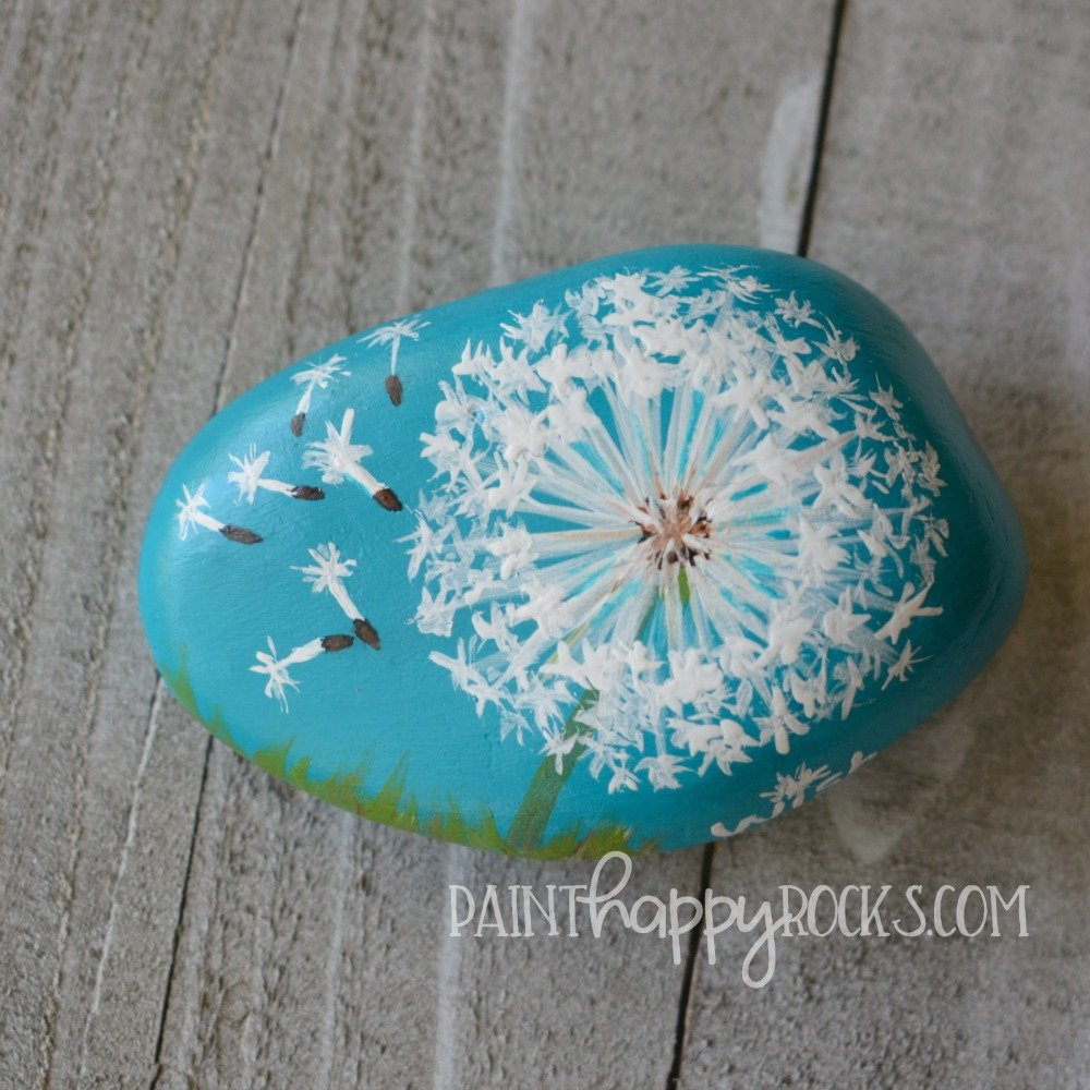 dandelion painted rock