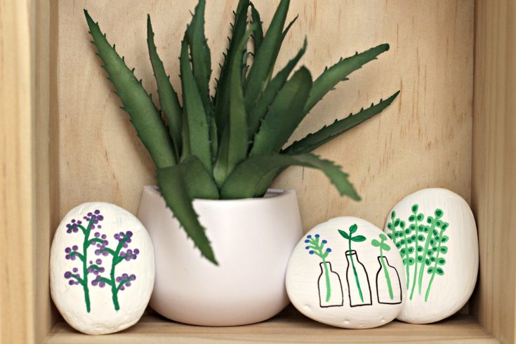 floral painted rocks