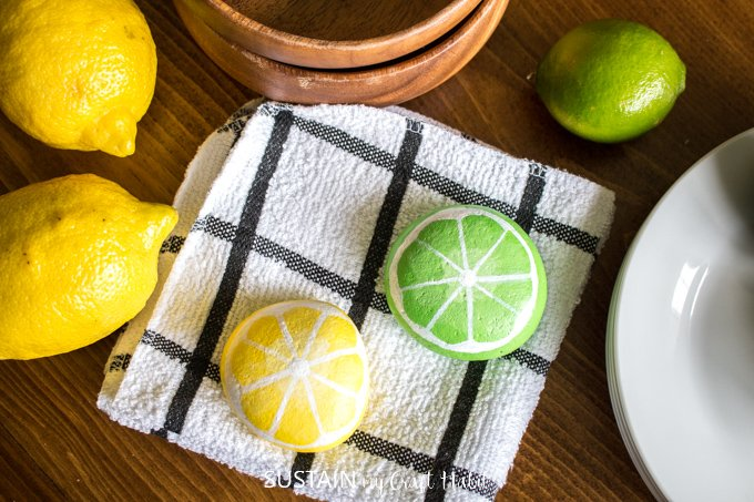 lemon and lime painted rocks