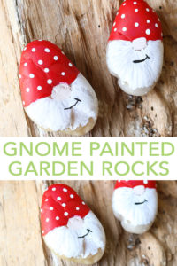 Make these gnome painted garden rocks in minutes with our easy to follow instructions! A quick and easy way to add some flair to your garden, flower bed, or even potted plants! #gnome #paintedrocks #rocks #painting
