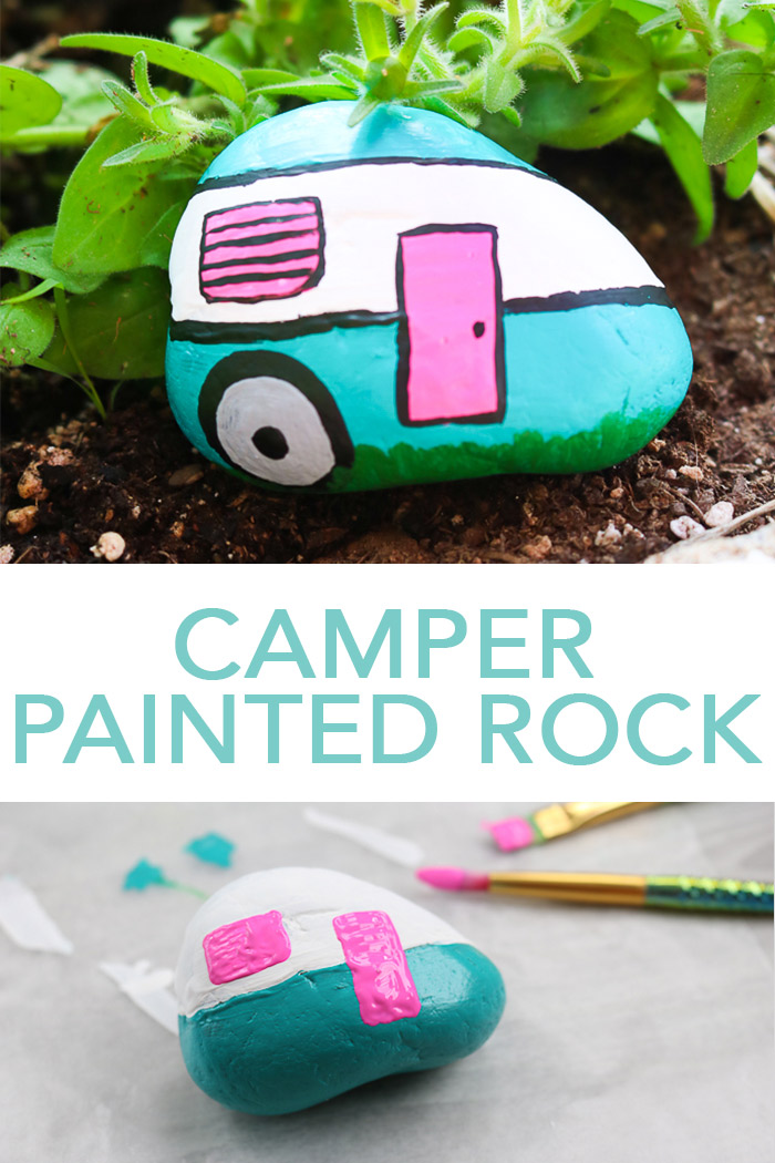 Make this camper painted rocks craft in minutes for your garden! Painting rocks is a quick and easy way to add color to any outdoor space! #paintedrocks #camper #camping #campinglife #rocks #garden