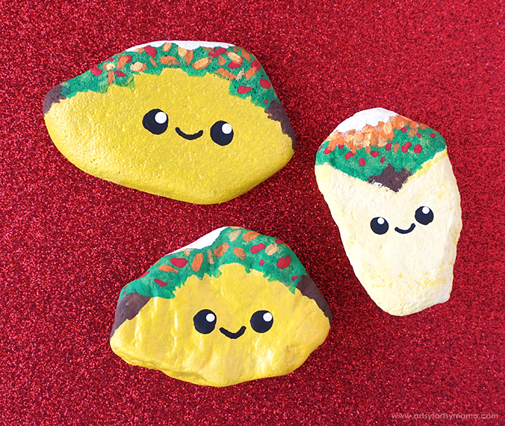 painting rocks tacos