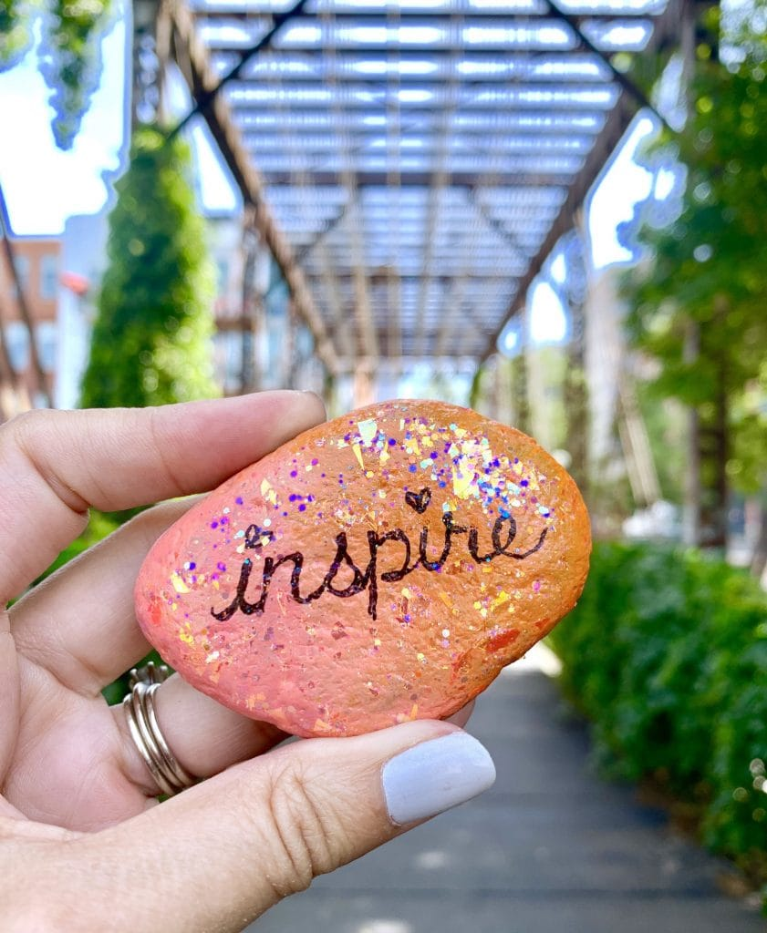 glitter painted rock