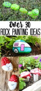 Over 30 rock painting ideas from top bloggers! A great list of ideas for painting rocks in 15 minutes or less for your garden or home. #rockpainting #rocks #painting #paint