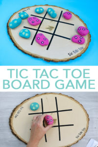 Make your own tic tac toe board game with a Cricut machine and some painted rocks! A quick and easy project perfect for kids to make for summer fun! #cricut #cricutmade #summer #tictactoe #paintedrocks