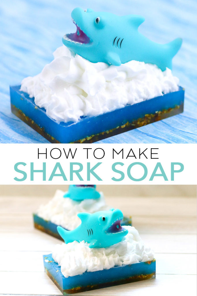 Learn how to make soap for kids for shark week! Fun shark soap that will have them begging to take a bath! #soap #homemadesoap #handmadesoap #sharkweek #sharks #kids