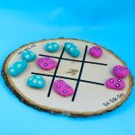 Tic Tac Toe Board Game with Rocks