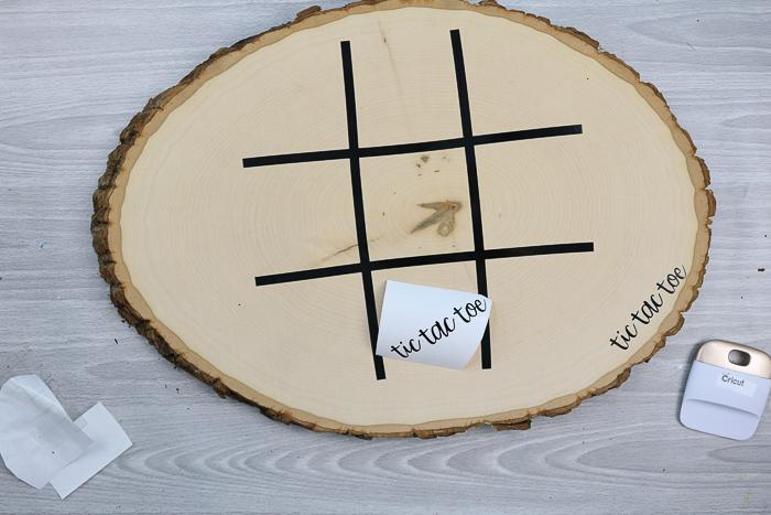 adding tic tac toe lines to a wood slice
