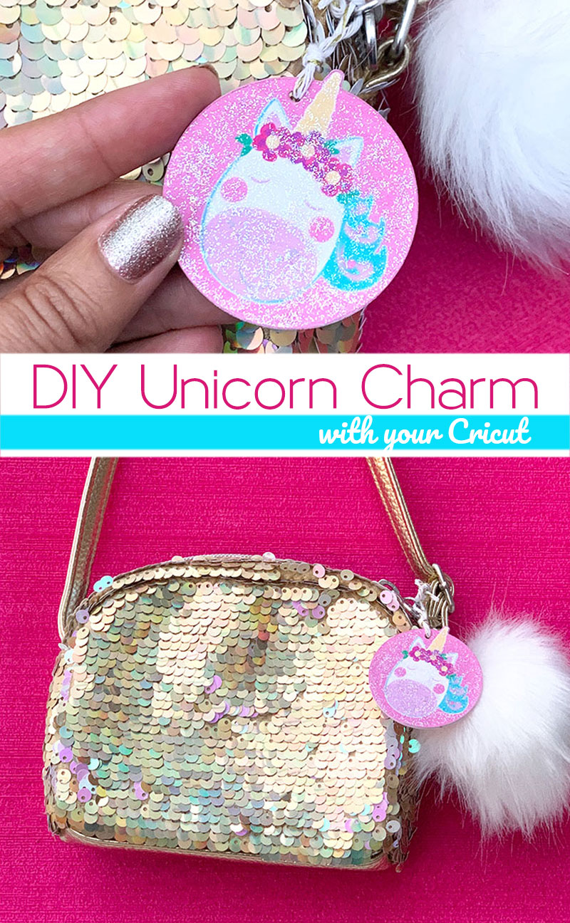 Make this DIY unicorn charm with your Cricut machine! A great addition to a purse or backpack! Use the print then cut Cricut function to make this glitter tag! #cricut #cricutmade #unicorn #printthencut #purse #tag