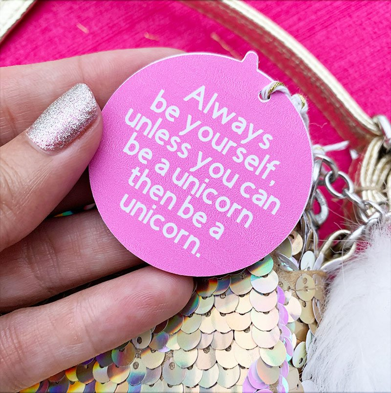 unicorn quote on a tag