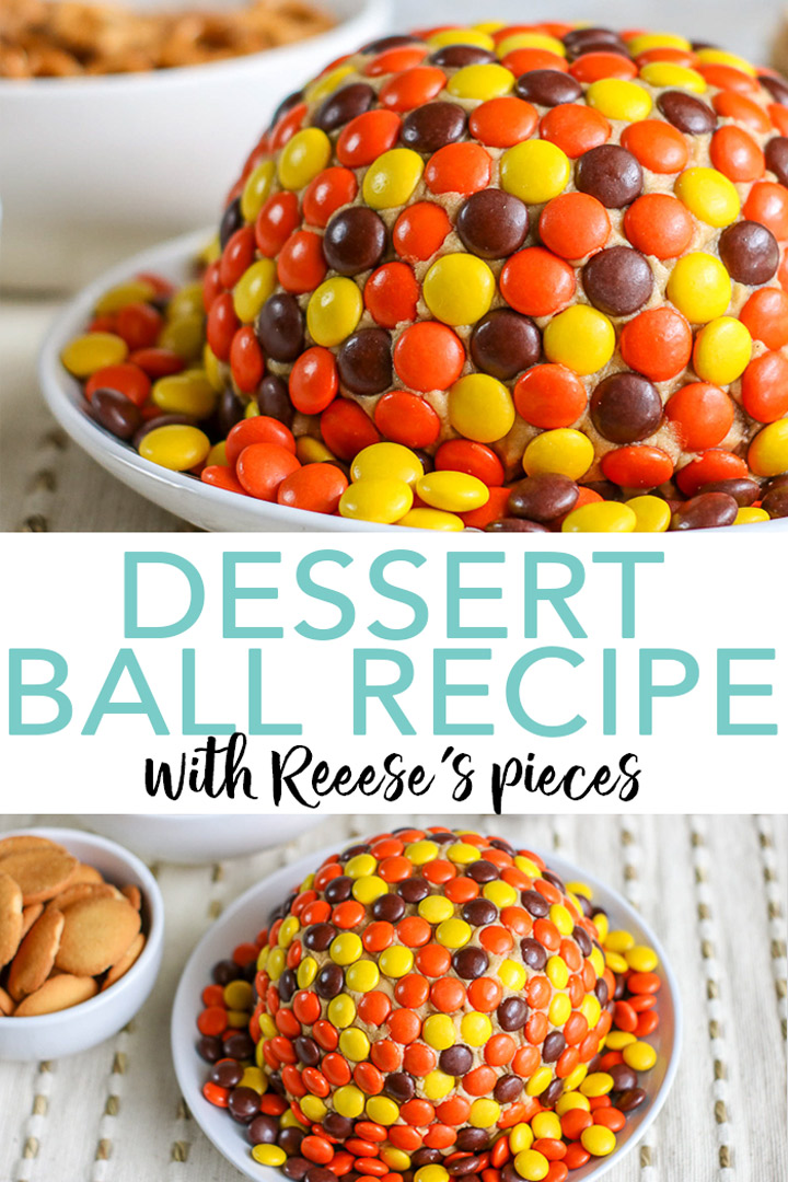 Make this dessert ball recipe for fall! A great dessert idea for Thanksgiving, Halloween, or other fall parties! If you love peanut butter, this is the dessert for you! #dessert #thanksgiving #fall #halloween #dessertrecipe #yum